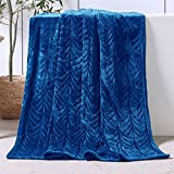 Whale Flotilla Flannel Fleece Throw Size(50x60 Inch) Lightweight Throw Blanket for Couch, Soft Velvet Throw Plush Fluffy Blanket with Decorative Palm Leaves Design, Royal Blue