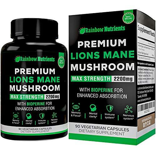 Premium Organic Lions Mane Mushroom Capsules- 2200mg + Absorption Enhancer- Immune Support, Brain Booster, Nootropics, Memory & Focus Supplements, Mental Clarity - 90 Vegan Pills