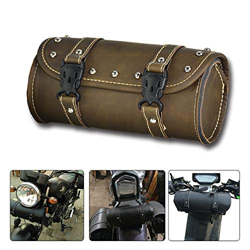 REBACKER Universal Motorcycle Handlebar Tool Front Fork Roll Storage Sissy Bar Barrel Bag PU Leather Deep Green