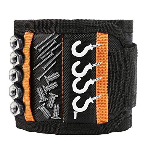 Magnetische armband - geschenken voor mannen of papa, magnetische armband ambachtslieden met 15 krachtige magneten voor holding gereedschappen, spijkers, schroeven, boringen en kleine gereedschappen Magnetische armband.
