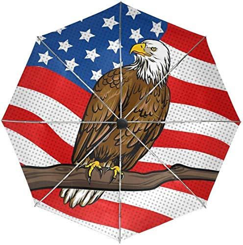 ASDF Automatic Umbrellas American Flag Eagle Pattern Anti-Slip Windproof Compact Rain Umbrella for Women Men