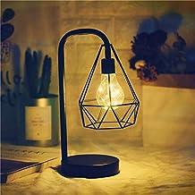 HANGQINGHENG Iron Table Lamp Battery Powered Bedside LED Night Light Living Room Bedroom Decoration Night Light for Kids (...
