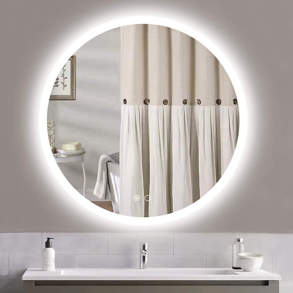 Keonjinn LED Round Mirror 32-inch Bathroom Vanity Mirror Anti-Fog Circle Wall Mounted Mirror Dimmable Makeup Mirror with Lights