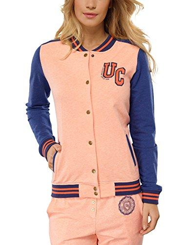 Uncover by Schiesser Damen College Jacket Sweatshirt, Gelb (apricot-Mel. 611), 36 (Herstellergröße: S)