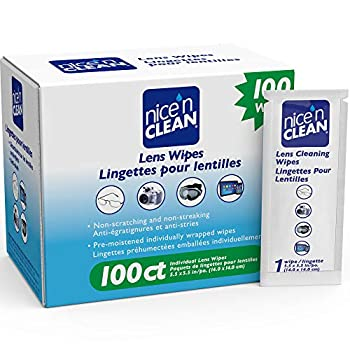 Nice  n Clean Lens Cleaning Wipes  100 Total Wipes    Pre-Moistened Individually Wrapped Wipes   Non-Scratching & Non-Streaking   Safe for Eyeglasses Goggles & Camera Lens