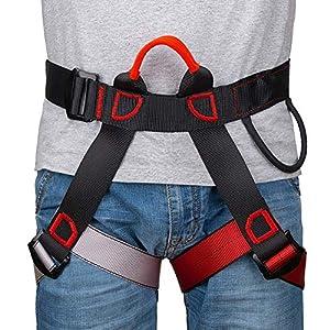 Linkax Arnés de Escalada,Cinturones de Seguridad Equipo Escalada,Ajustable Cinturón Seguro de Cadera de Cintura para Mujer y Hombre Escalada de Roca Alpinismo Rescate