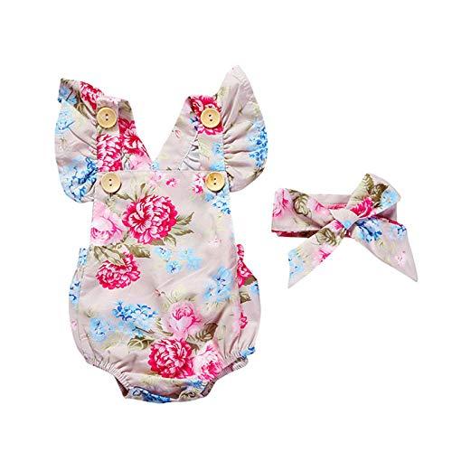 Keepwin Conjunto Niña, Estampado de Floral Bodies Bebe Niña Manga con Volante + Diademas Disfraz Princesa Niña Ropa de Bebe Niña 0-24 Meses Mono Chica Mameluco Bebe Recien Nacido Niña Body