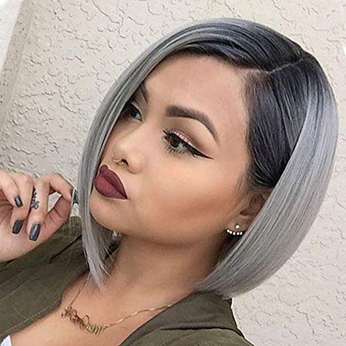 NIUDINNG Echthaar Perücke Bob Wig T-Part Lace Front Wig Real Human Hair Wig Pre Plucked Natural Hairline Farbe Grau Ombre Hair Echte Haare für Frauen 12 zoll