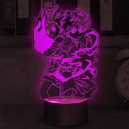 Luz nocturna 3D para niños 3D Ilusión Lámpara Hunter X Hunter Alimentada por USB, 16 colores intermitentes, interruptor táctil, decoración de dormitorio, iluminación para niños, regalo de Navidad