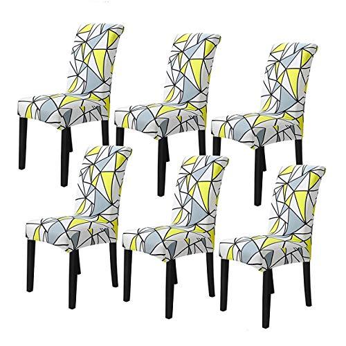 FOMT Stretch Dining Chair Covers, High Back Chair Schutzbezug Schonbezug, Elastic Chair Protector Sitzbezüge Für Esszimmer Hochzeit Bankett Party Dekoration,I,6pcs