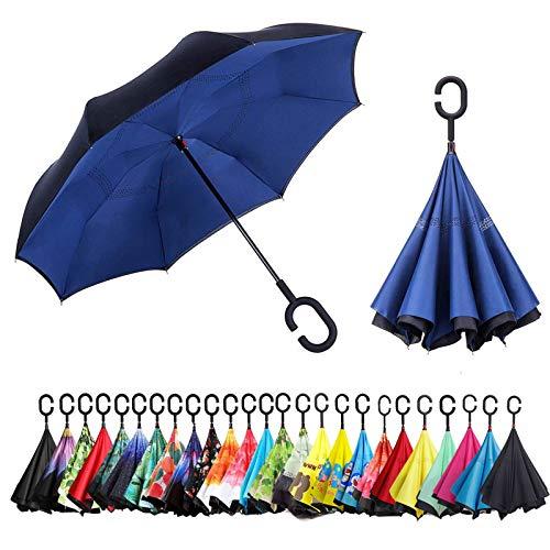 Sumeber Paraguas invertido de doble capa en forma de C, con asa invertida, paraguas plegable y antirayos UV, resistente al viento, con bolsa de transporte