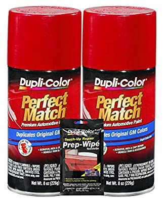 Dupli-Color Victory Red Exact-Match Automotive Paint for GM Vehicles - 8 oz, Bundles with Prep Wipe (3 Items)