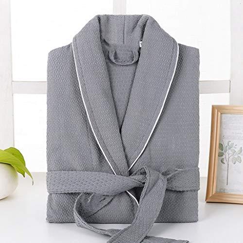 XJJZS 100% Albornoz Bordado de la Galleta Suave Hoteles en Robe Absorbente Noche de algodón for Hombres de Mujeres Pijamas Unisex del Traje de Dama de Honor (Color : D, Size : X-Large)