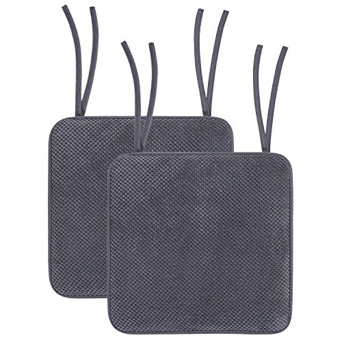 """Smiry Memory Foam Chair Cushion with Ties Honeycomb Pattern Chair Seat Pads Non Slip Rubber Back Rounded Square 16"""" x 16"""" Seat Cushions (2 Pack, Grey)"""