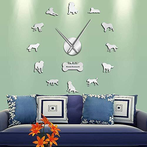 DIY Muur Klok Sint Bernard Hond 3D Acryl Wandklok Barry De Sint Bernard Hond Ras Mute Muur Horloge Hond Liefhebber Gift St. Bernard Doggie 37inch Zilver