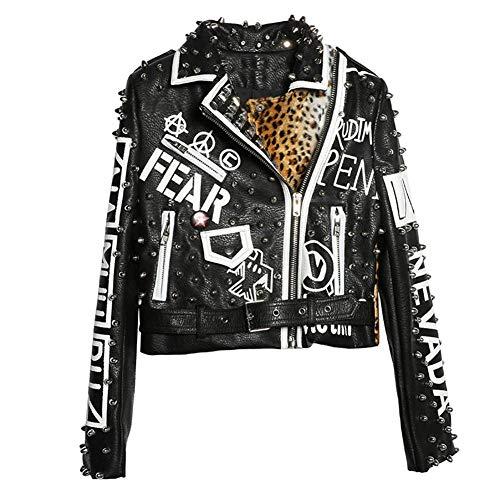 WLXFVNYBD Chaqueta de Cuero de Leopardo Negro Mujer Otoño Invierno Moda Cuello Vuelto Chaquetas con Tachuelas de Punk Rock Abrigos de Mujer