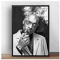 スヌープドッグ喫煙ポスター絵画キャンバス黒と白の壁アートキャンバスに印刷リビングルームの装飾のための写真50x70cmフレームなし
