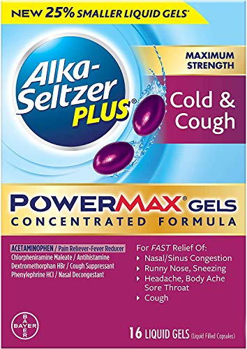Alka Seltzer Plus Maximum Strength PowerMax Cold and Cough Medicine,Liquid Gels for adults with Pain Reliever, Fever Reducer, Cough Suppressant and Nasal Decongestant, 16 count