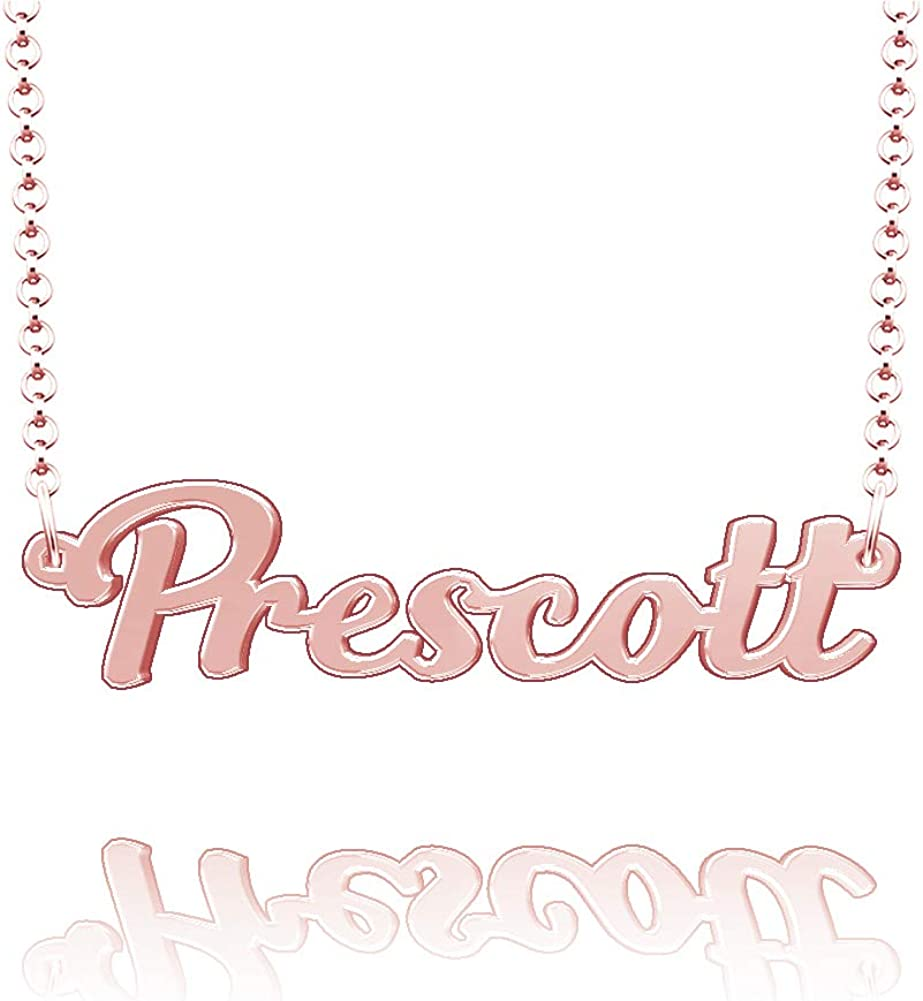 LoEnMe Jewelry Personalized Prescott Name Necklace Stainless Steel Plated Custom Made of Last Name Gift for Family