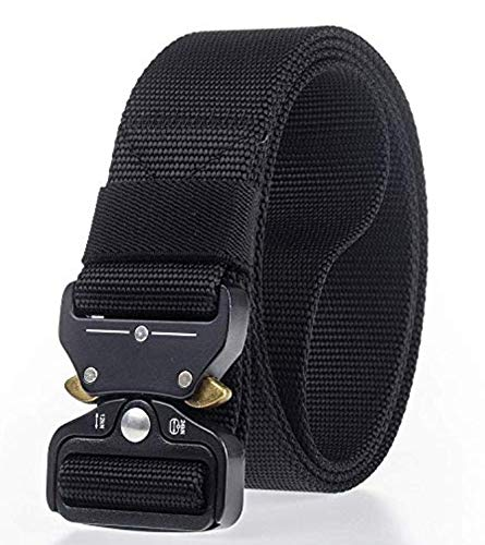 CONTACTS Men's Synthetic Quick Release Buckle Nylon Belt (Black, Free Size)