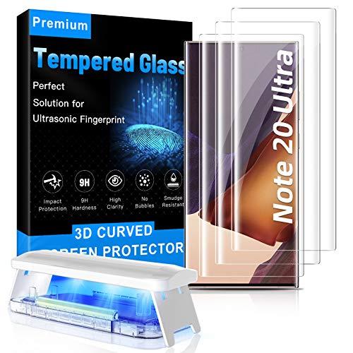MOWEI Pack de 3 protectores de pantalla para Galaxy Note 20, [100% ultrasónico de huellas dactilares] 3D curvado vidrio templado para Samsung Note20 Ultra 5G