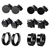 Finrezio 6 Pairs Stainless Steel Black CZ Hoop & Stud Earrings Set