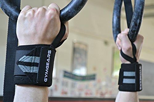 Handgelenkbandage [2er Set] Wrist Wraps 45 cm – Profi Bandagen für Kraftsport, Bodybuilding, Powerlifting, CrossFit & Fitness – Schwarz / Grau - 6