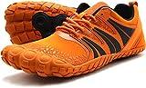Oranginer Men's Barefoot Running Shoes Flexible Minimalist Wide Toe Box Zero Drop Shoes for Men Orange Size 11