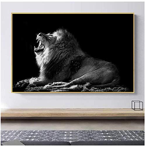 A&D Schwarz Weiß Brüllender Löwe Leinwandbilder Tierposter Und Drucke Afrika Wilde Tiere Wandbilder Wohnzimmer Wohnkultur-60x90cm Kein Rahmen