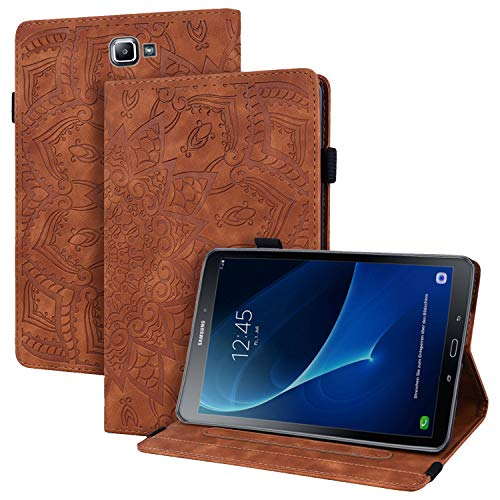 WHWOLF Suitable for Samsung Galaxy Tab A 10.1 2016 (SM-T580/ T585) Case Tablet Wallet Cover Flip Shockproof with Stand -Brown