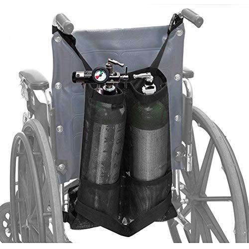 JJDD'G Sauerstofftank-Tasche, Doppelte Sauerstoffflaschen-Tasche Für Rollstuhlfahrer Sauerstofftankhalter für Walker, Rollator,Schwarz,65 * 45cm