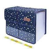 Uquelic Clasificadores Carpetas de Acordeón 13 Bolsillos Acordeon Documentos Soporte Extensible Portátil Ampliable Clasificadora de Acordeón (Azul)