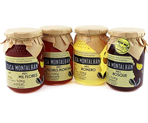Miel de abeja pura España 100{ab1a617ab1806dec717243a706c4589f632ba93666b9464b84328937df5b3428} Natural, Miel cruda, Pack de degustación de miel pura - 2 Kg