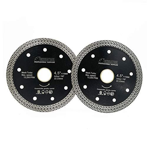 SHDIATOOL 4-1/2 Inch Porcelain Diamond Mesh Turbo Saw Blade Cutting Granite Marble Ceramic Tile Brick Pack of 2