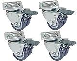 HRB Rollen mit Bremse 50 mm rasengeeignete Strandkorbrollen mit Bremse Tragkraft 400 kg nutzbar als Rollen für Möbel