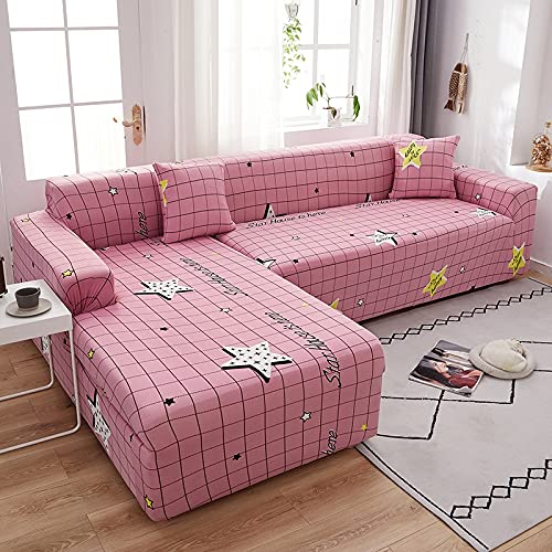 WXQY Funda de sofá Antideslizante geométrica Rosada, Funda de sofá elástica para Sala de Estar, Esquina para Mascotas, Conjunto de sofás Chaise Longue en Forma de L A1 1 plazas