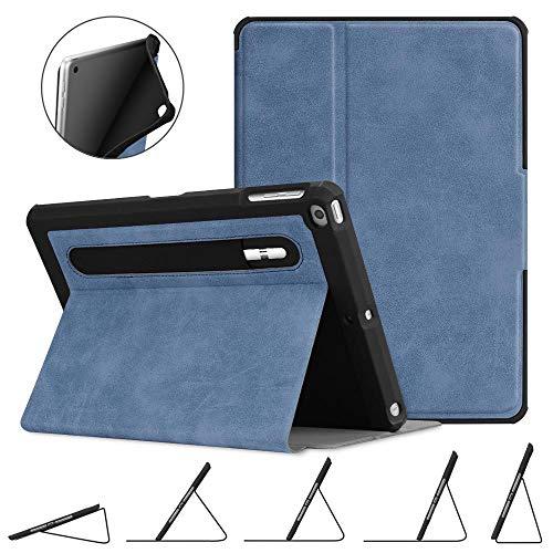 Fintie Hülle für iPad 9.7 2018 2017 / iPad Air 2 / iPad Air - [Eckenschutz] Robustes Soft TPU Rückseite Gehäuse für unterschiedliche Betrachtungswinkel mit Auto Sleep/Wake, Rustikal blau