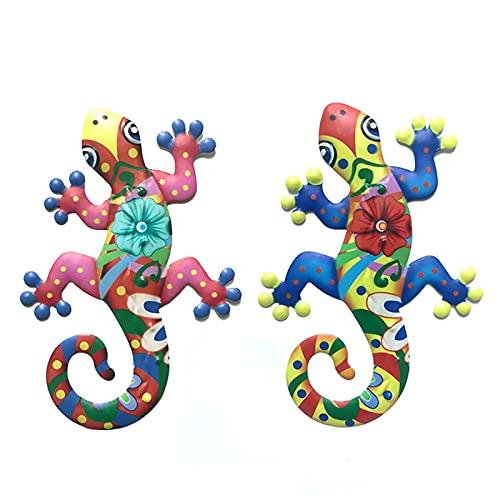 Taloit Gecko Wanddecoratie 2 stuks roestvrij ijzeren Gecko wanddecoratie metalen hagedis ornament voor thuis tuin