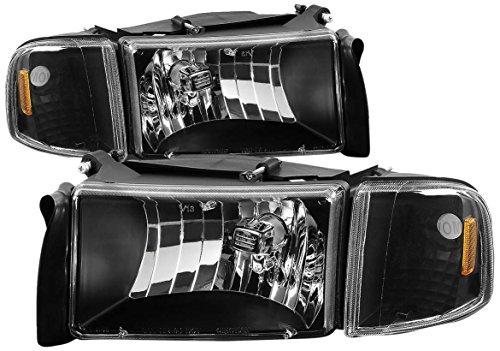 DNA MOTORING HL-OH-DR944P-BK-AM Headlight Assembly Driver and Passenger Side, Black / Amber