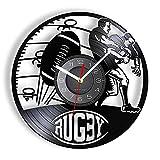 Nfjrrm Horloge Murale de décoration de Jeu de Rugby Horloge Murale de Sport de Rugby avec rétro-éclairage LED Art de Disque Vinyle pour Les Joueurs 30x30cm