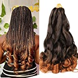 6 Pack Pre Stretched Bouncy Braiding Hair For Box Braids 22 Inch Loose Wavy Braiding Hair Pre Streched 75/Pack Premium Quality Fibre Silky French Curls Synthetic Hair Extensions T30