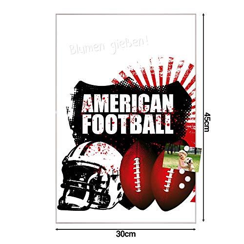 BANJADO Design Glas-Magnettafel 30x45cm groß   Magnetwand mit 4 Magneten   Memoboard beschreibbar   Magnetboard mit Motiv American Football