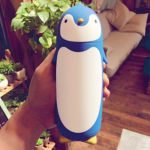 PEISHI Isolierkannen 280ml Reizender Pinguin Vacuum Cup Kreative Geschenk-Kessel (Schwarz) Neu (Color : Blue)