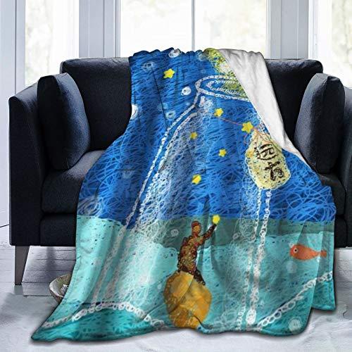 KOSALAER Bedding Manta,East Painting Art Kids Ocean Drift Bottle Star Fish Doodle,Mantas cálidas de Sala de Estar/Dormitorio Ultra Suaves para Todas Las Estaciones
