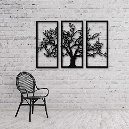 Juego triple Diseño de árbol de sauce Tres picos 33 X80 cm Tres picos Placa de pared 3d Hierro Metal Hogar Marco de pared de metal Sala de estar-Negro, 36 pulgadas