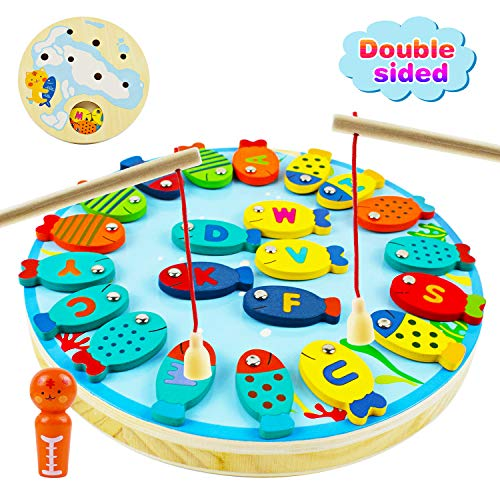 Mixi Magnetic Wooden Fishing Game for Toddlers, Preschool Alphabet Fish Catching Counting Board Games for 2 3 4 5 6 Year Old Boys Girls Kids Birthday Gifts Learning Education Math Toys