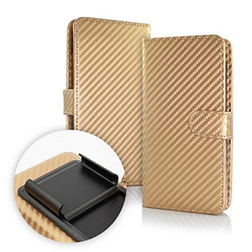 generale Custodia (Universale) Compatibile per Huawei Y32 Y3 II 2 Y3II LUA-L21 LUA-L22 LUA-L23 Cover Libro Gancio Interno Protezione Antiurto Chiusura Portafoglio vano Porta Carte (Gold/Oro)