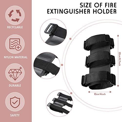 2 Pieces Adjustable Fire Extinguisher Holders Fire Extinguisher Mount Strap for Roll Bar Car Fire Extinguisher in Black and Red Compatible with Jeep Wrangler CJ YJ LJ TJ JK JKU JL JLU 1953-202
