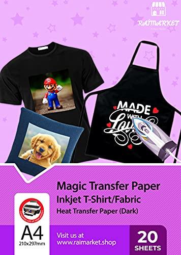 Raimarket Papel Transfer para camisetas   20 hojas  A4 Hierro imprimible encendido Papel Transfer para camisetas oscuras   Impresión de telas y camisas de bricolaje