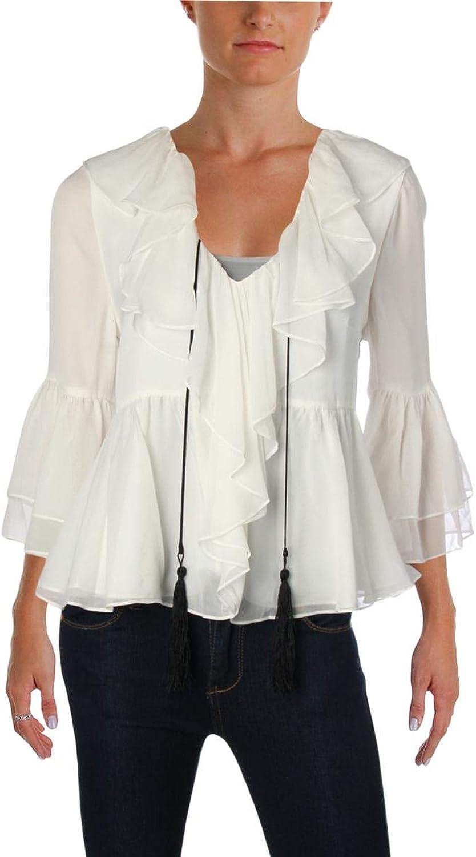 Cinq a Sept Womens Pacifique Silk Bell Sleeves Blouse